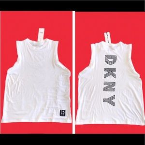 DKNY sport women's white athletic muscle tank top